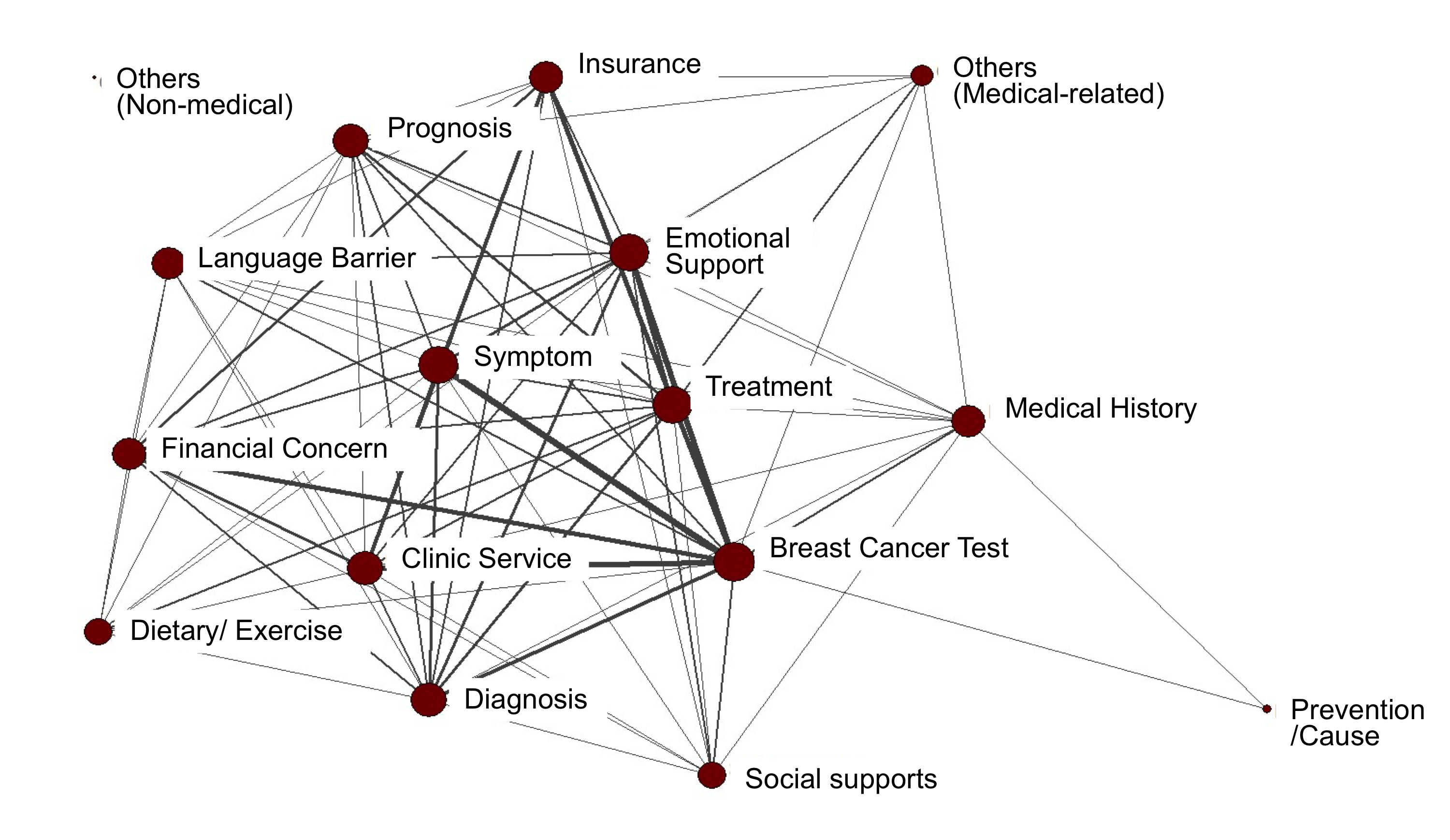 Topical network of breast cancer information in a Korean American